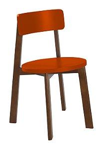 Cadeira Lina com Acento e Encosto na Cor laranja