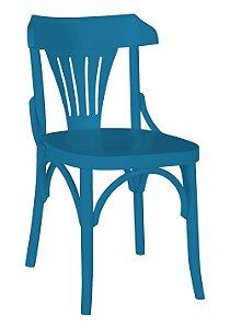 Cadeira Opzione em Madeira Maciça na Cor Azul Turqueza