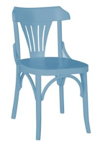 Cadeira Opzione em Madeira Maciça na Cor Azul Serenata