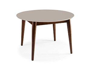 Mesa de Jantar Devon com 120cm, Pés de madeira Maciça e Tampo em MDF na Cor Nude