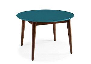 Mesa de Jantar Devon com 120cm, Pés de madeira Maciça e Tampo em MDF na Cor Azul Turqueza