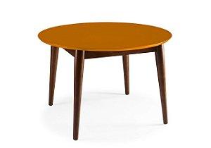 Mesa de Jantar Devon com 120cm, Pés de madeira Maciça e Tampo em MDF na Cor laranja