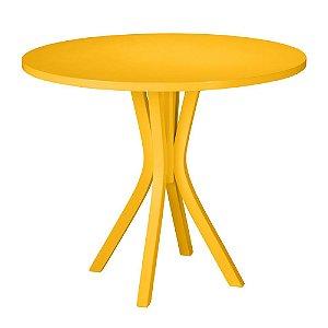 Mesa de Jantar Felice com 90cm de Diâmetro na Cor Amarela