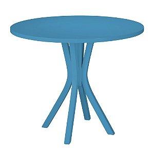 Mesa de Jantar Felice com 90cm de Diâmetro na Cor Azul Turqueza