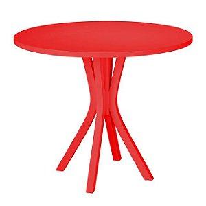 Mesa de Jantar Felice com 90cm de Diâmetro na Cor Vermelha