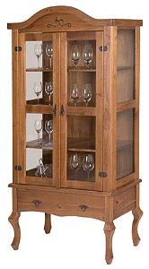 Cristaleira Luiz XV Alta com 2 Portas de Vidro e uma Gaveta - Madeira Maciça - Verniz