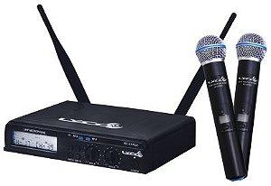 Microfone de Mao Duplo com 100 Frequencias por Canal UHXPRO02MM Lyco