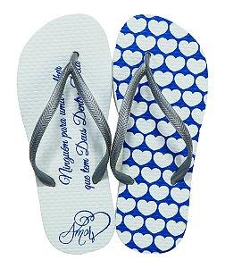 Chinelo Amor Azul/Branco