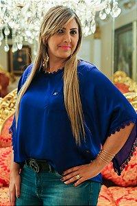 Blusa de Cetim c Renda Azul Royal