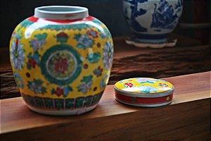 Pote Ásia Porcelana com tampa - 26cm
