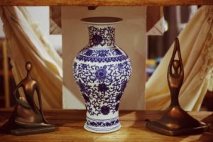 Vaso Porcelana Chinês Floral Blue - 36cm