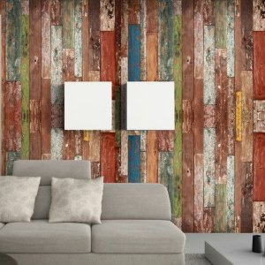 Papel de parede adesivo 3d Madeira  /  3m x 58cm