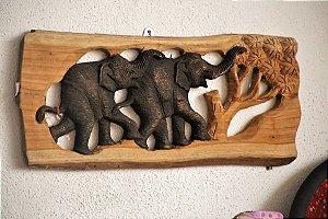 Painel Elefante Mamãe e Filhote Madeira teca - 45cm