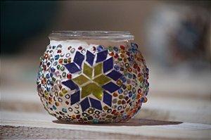 Porta Velas Vitral mosaico  Turquia - Azul  Alt. 06cm