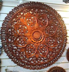 Mandala Flor Redonda em Madeira Suar - Bali