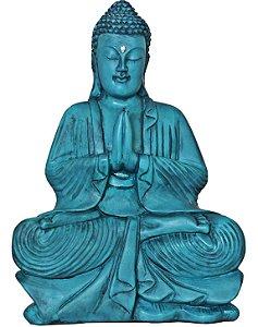 Escultura Buda meditação - Turquesa/Branco  40cm
