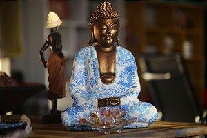 Buddha Despertar - iluminação com Manto flor azul / 33cm