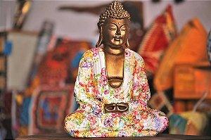 Buddha Despertar - iluminação com Manto floral / 33cm