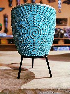 Vasinho Cerâmica flor turquesa  + suporte e Macramê  09cm
