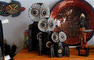 Corujas família Lapônica - Trio ( 30cm x 25cm x 20cm ) Madeira