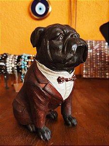 Escultura BullDog sentado de paletó - 20cm