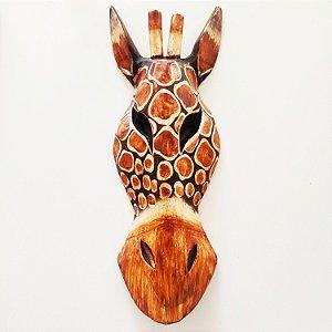 Máscara madeira Girafa 3D - 20cm