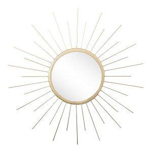 Espelho Sol Raiando Metal Dourado