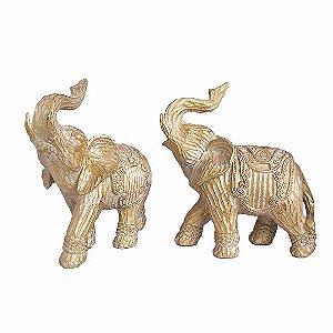 Casal de Elefante Dourado Grande