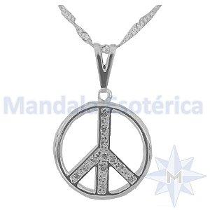 Gargantilha Símbolo da Paz com Strass