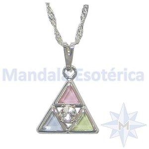 Gargantilha Triângulo com Pedras coloridas B. Ouro