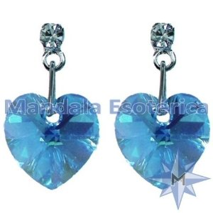 Brinco Coração Aquamarine - Azul Claro