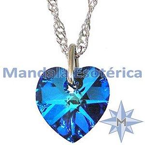 GARGANTILHA COM PINGENTE CORAÇÃO BERMUDA BLUE - AZUL ESCURO