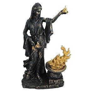 Deusa Héstia Preta e dourada - Vesta