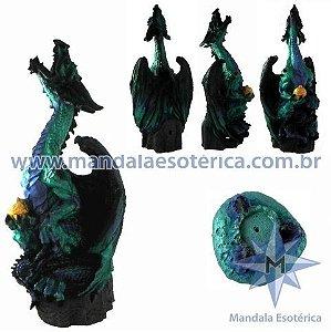 Dragão Alado Verde com Incensário