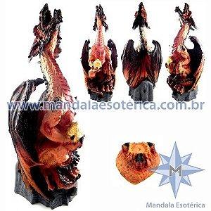 Dragão Alado Marrom com Incensário