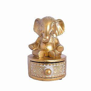 Porta Joias Elefante Dourado