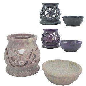 Queimador de Essência em Pedra sabão cores variadas
