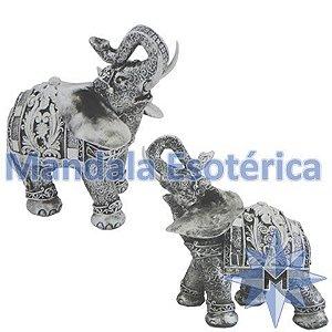 Elefante prata e chumbo médio conjunto com 2