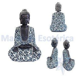 Buda médio Revestido em Tecido Indiano Azul