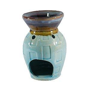 Rechô Queimador em Cerâmica Azul com Marrom