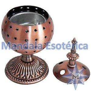 Turibulo de mesa bronze em metal