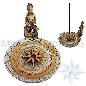 Incensário Prato Buda Meditação