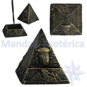 Incensário Pirâmide Egípcia com Tampa