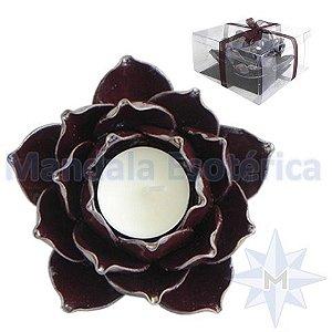 Flor de Lótus Marrom Porta Velas em Porcelana