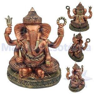 Ganesha com dente na Mão Pintura Esmaltada