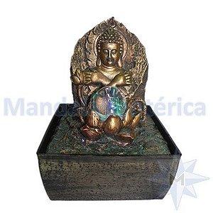 Fonte Buda Proteção Flor de Lótus com bola de vidro