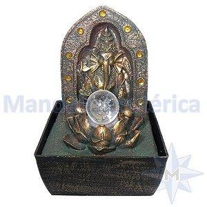 Fonte Ganesha Proteção na Flor de Lótus com bola de vidro