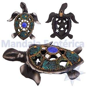 Tartaruga de Parede Colorida Cinza e Azul A