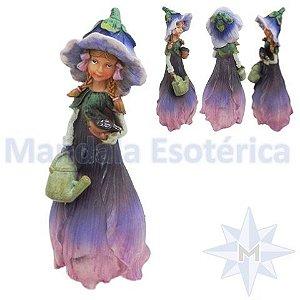 Menina Flor Lilas com Regador de flores e Passarinho