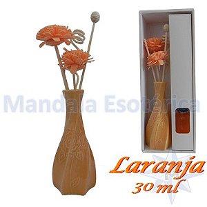 Aromatizador com flor e varetas com perfume de Laranja